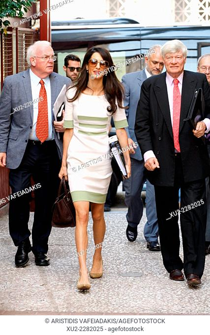 AMAL ALAMUDDIN and her boss, Geoffrey Robertson. goes to meet Culture Minister Kvnstantinos Tasoulas to advise the Greek government on how to repatriate the...