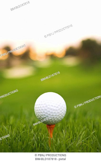 Close up of teed golf ball on golf course