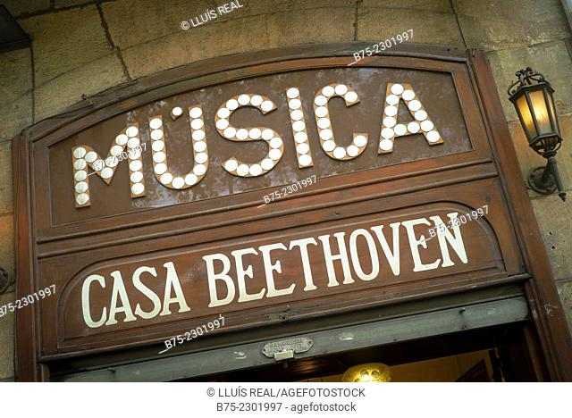 Poster house facade Music Beethoven. Las Ramblas, Barcelona, Catalonia, Spain, Europe