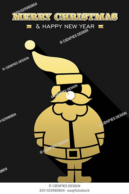 Merry Christmas Happy New Year gold Santa Claus silhouette on black background. Ideal for Xmas greeting card, holiday poster or web. EPS10 vector