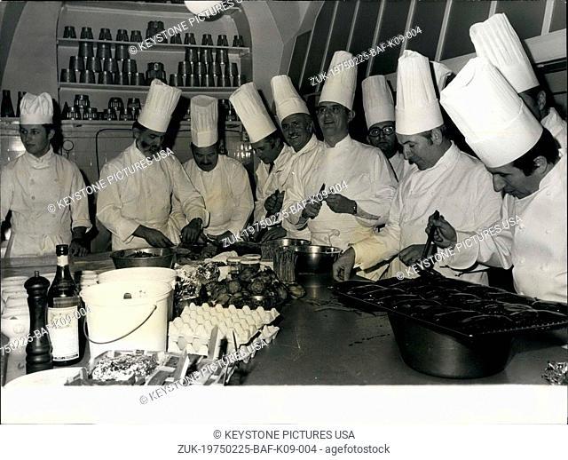 Feb. 25, 1975 - The Elysee Palace Chefs Prepare a Lunch in Honor of Paul Bocuse (Credit Image: © Keystone Press Agency/Keystone USA via ZUMAPRESS.com)