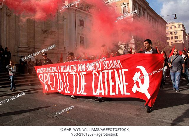 Rome, Italy. 12th April 2014. The Housing Movement and Anti Austerity demonstration in Rome, Italy