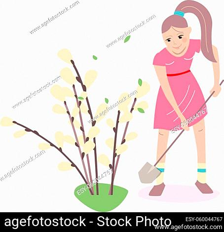 Young woman planting pussy willow at spring for Easter holiday. Illustration can be used for Easter templates