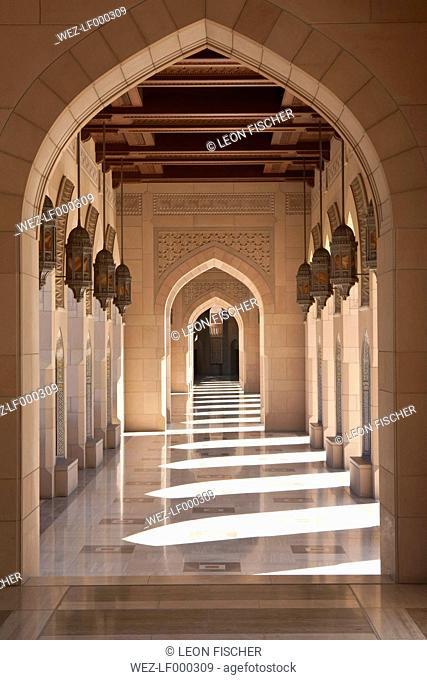 Oman, Empty corridor of Sultan Qaboos Grand Mosque