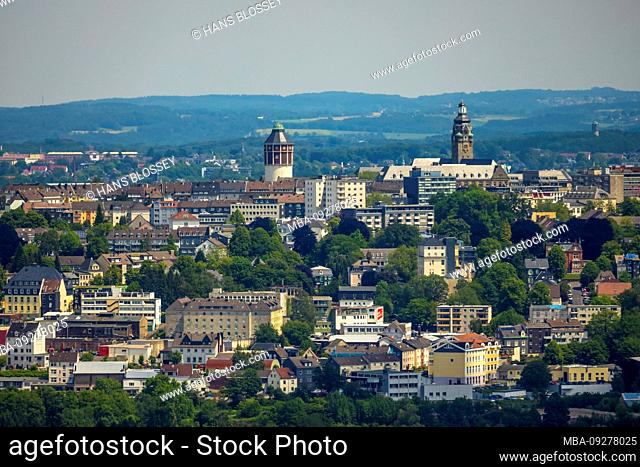 Aerial view of the city center of Remscheid with town hall Remscheid and ECE avenue center Remscheid and the Theodor Heuss place in Remscheid in the Bergischen...