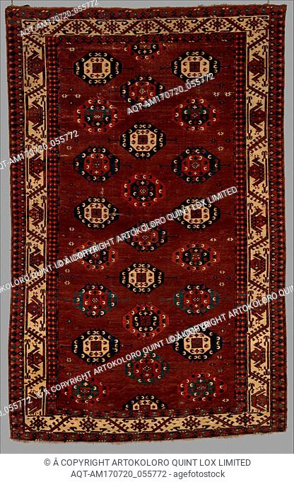 Yomut Main Carpet, probably late 18th century, Attributed to Western Turkmenistan, Central Asia, Wool pile on wool and cotton foundation, H