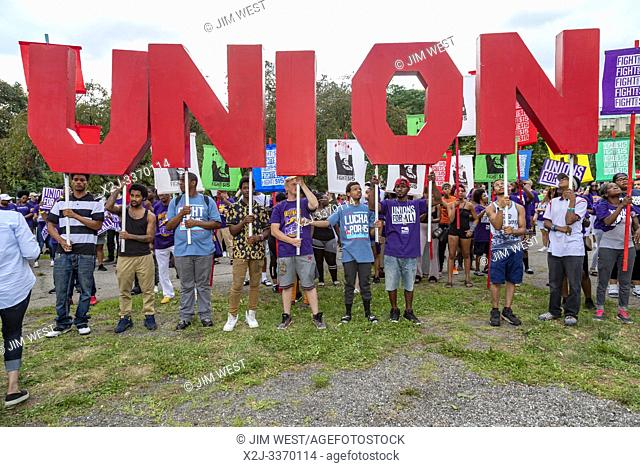 Detroit, Michigan USA - 30 July 2019 - Activists, including many union members, rallied outside the first night of the Democratic Presidential Debate