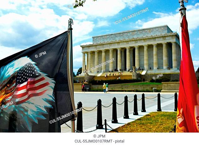 Eagle flag and Lincoln Memorial, Washington DC, USA