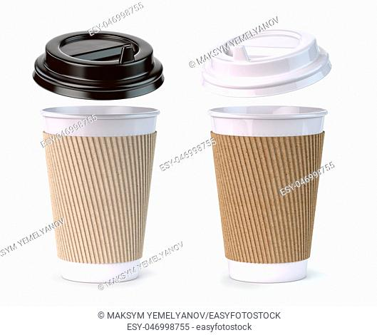 Paper coffee cups isolated on white background. Mock up . 3d illustration