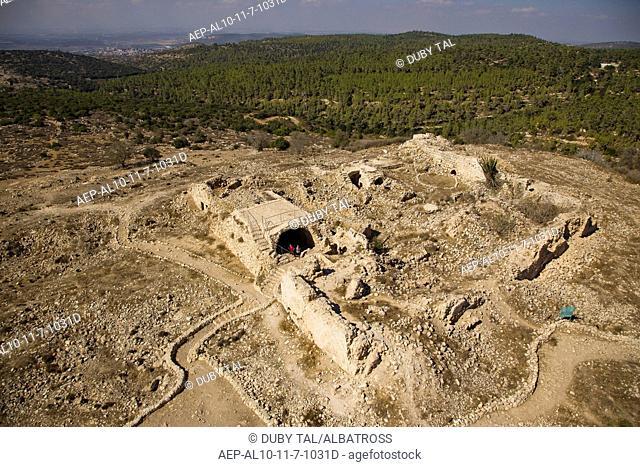 An aerial view of Beit Itav ruins