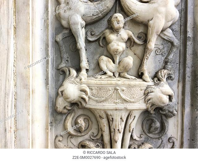 Italy, Lombardy, Valtellina, Tirano, Sanctuary of the Madonna di Tirano, Detail Facade.