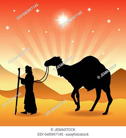 Merry Christmas and holy family concept represented by wise man and camel icon. Silhouette and flat illustration