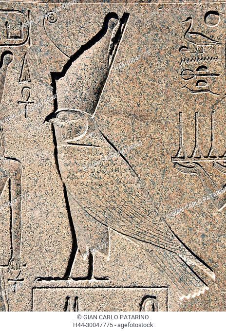 Karnak, Luxor, Egypt. Temple of Karnak sacred to god Amon: a sacred falcon on a obelisk