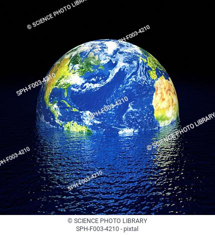 Rising sea levels, conceptual computer artwork