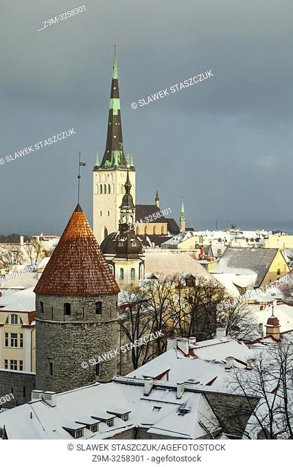 Winter afternoon in Tallinn old town, Estonia. St Olaf church dominates the skyline
