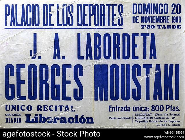Jose Antonio Labordeta, George Moustaki, Madrid tour 1983