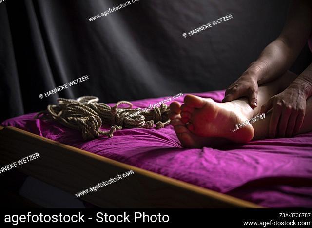 Closeup of bondage on a woman