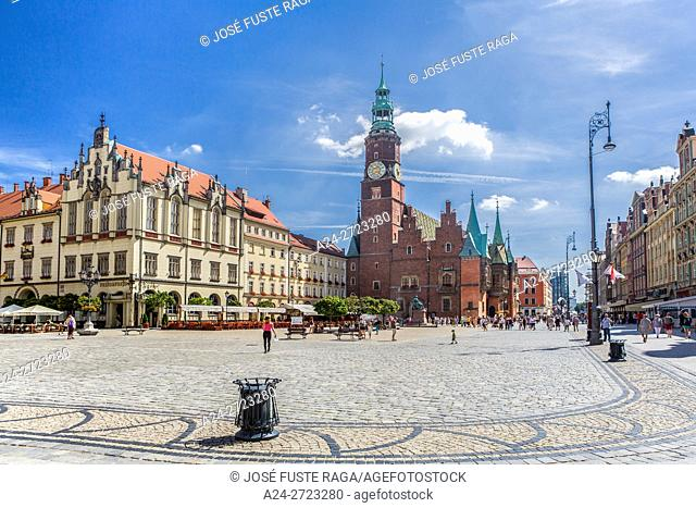 Poland, Wroclaw City, Market Square, Town Hall Bldg. Rynek, Fredro Monument