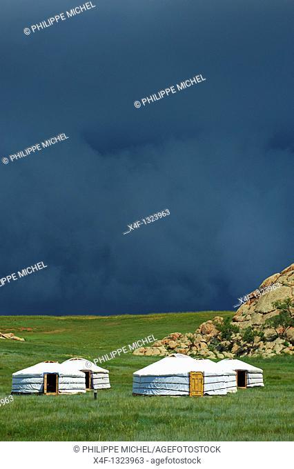 Mongolia, Ovorkhangai province, tourist camp at Batkhan national park
