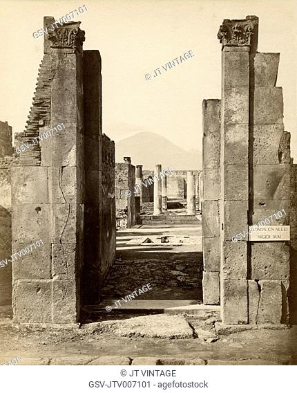 Close-Up of Ruins with Mount Vesuvius in Background, Pompeii, Italy, Albumen Print, circa 1880