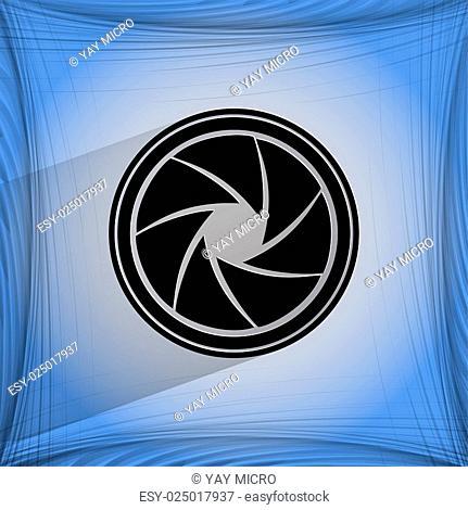Photo camera diaphragm. Flat modern web button on a flat geometric abstract background