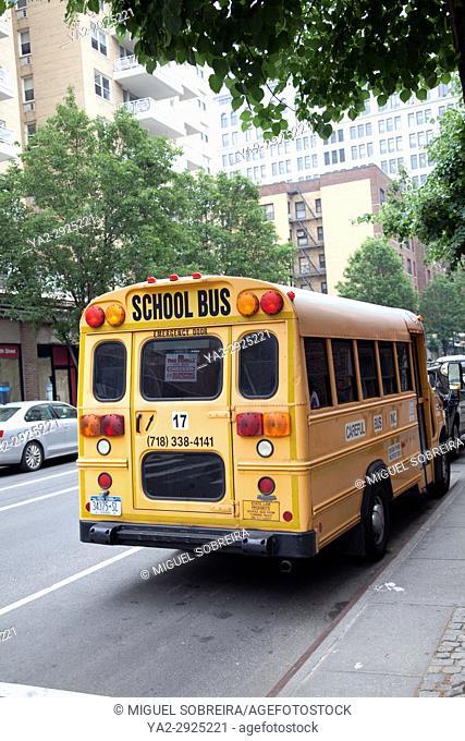 School Bus in Greenwich Village in Manhattan - New York - USA