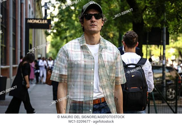 MILAN, Italy- September 20 2018: Alvaro de Juan on the street during the Milan Fashion Week