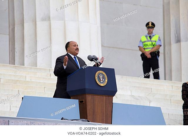 Martin Luther King III, son of the late Dr. Martin Luther King Jr., addresses the Let Freedom Ring, the 50th anniversary of the March on Washington on the...
