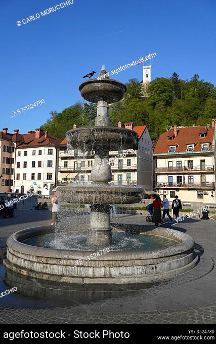 Fountain in New Square, Vodnjak na Novem trgu, Ljubljana, Slovenia, Europe