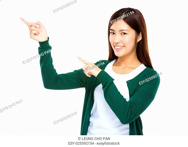 Young woman point her finger