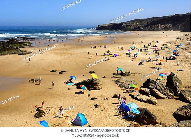 Europe, Portugal, Algarve, Faro district, Aljezur, Costa Vicentina, Monte Clérigo beach, Praia do Monte Clérigo, Parque Natural do Sudoeste Alentejano e Costa...