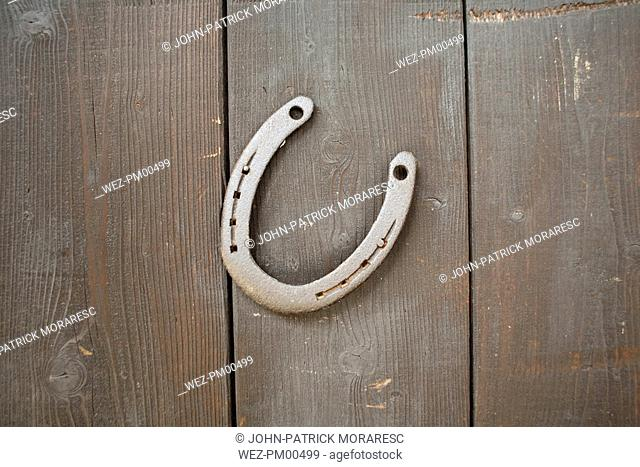 Horseshoes on brown wooden wall