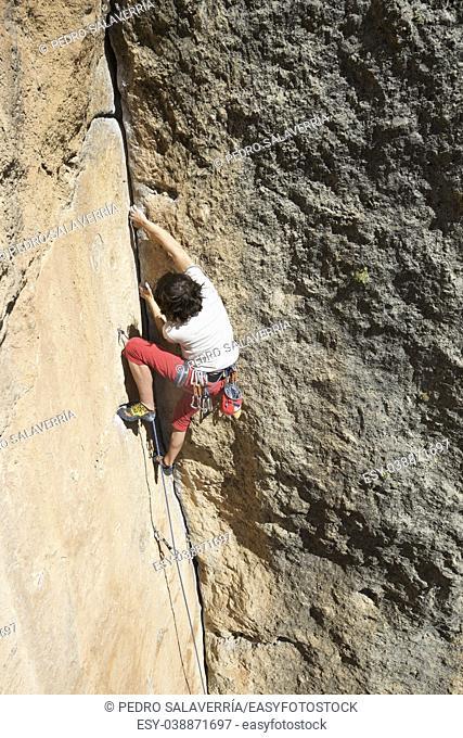 Climbing in Morata de Jalon, Zaragoza province, Aragon, Spain