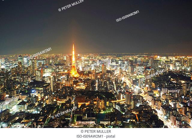 Cityscape view with Tokyo Tower at night, Tokyo, Japan
