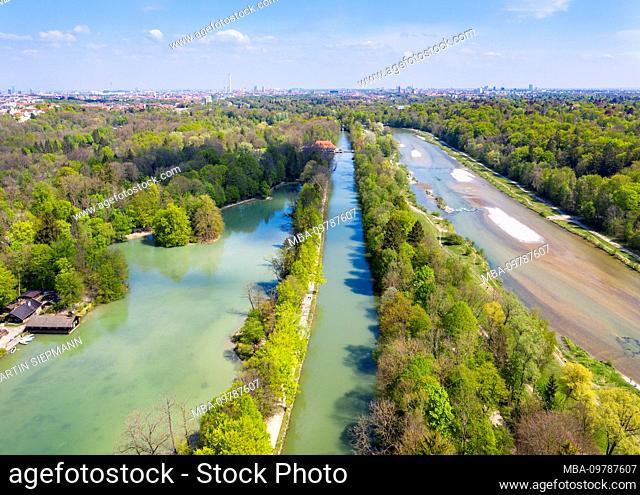 Hinterbrühler See, Isar-Werkkanal and Isar, district Thalkirchen, Munich, drone recording, Upper Bavaria, Bavaria, Germany