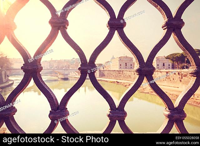 Old street in ancient Rome, Italy. Architecture and landmark concept. Travel background