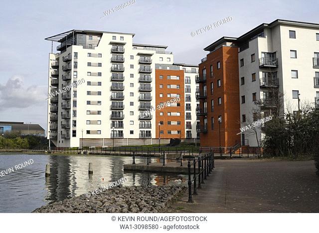Modern apartment block in Cardiff, Water Quarter, Wales UK