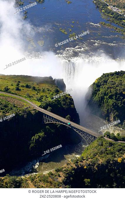 Aerial view of Victoria Falls and Batoka Gorge. Zimbabwe