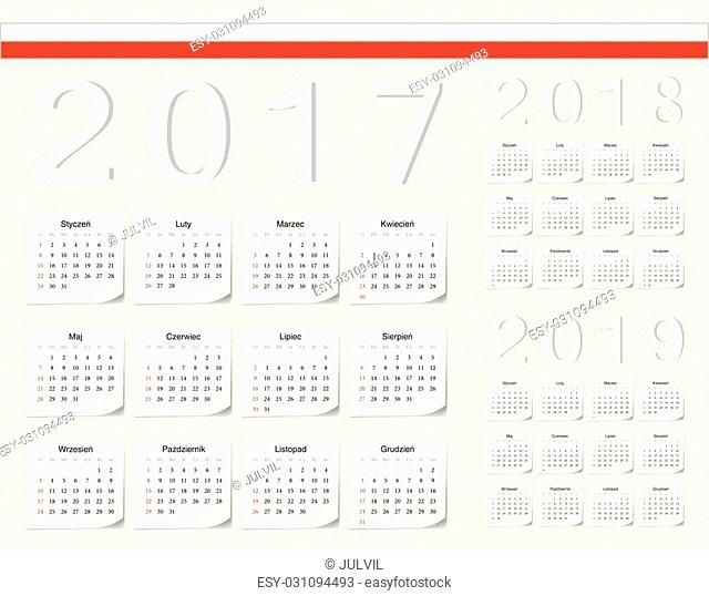 Set of Polish 2017, 2018, 2019 vector calendars with shadow angles. Week starts from Sunday