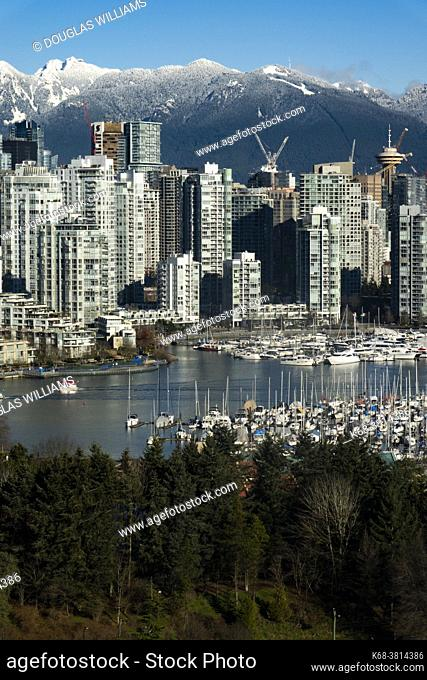 Downtown Vancouver from Broadway, showing False Creek