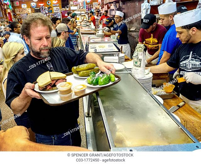 Custom-cut meat sandwiches are sold at the famous Katz's Delicatessen on East Houston Street in Lower Manhattan, New York City
