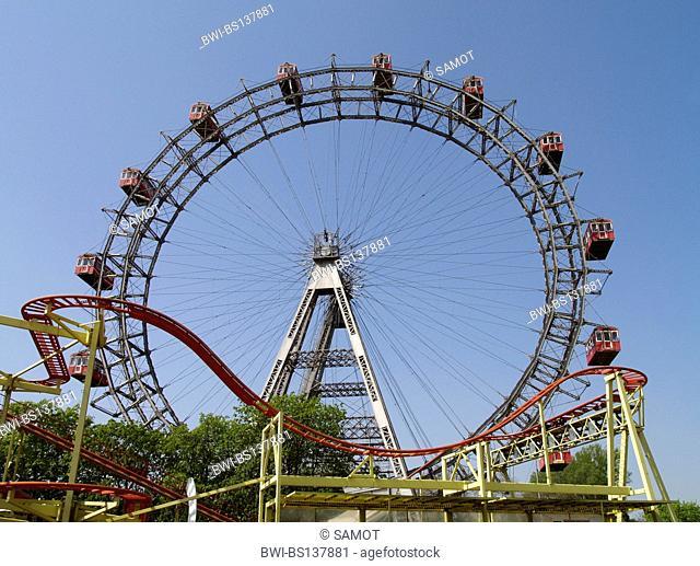 Giant Ferry Wheel and rollercoaster on Wiener Prater, Austria, Vienna