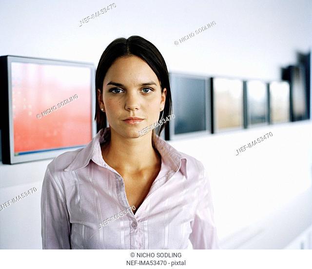 A woman in an office, Sweden