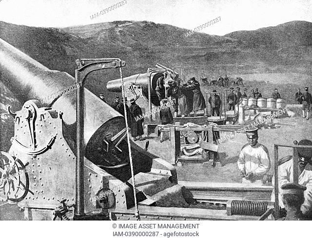 Russo-Japanese War 1904-1905: Battery of Japanese siege guns bombarding Port Arthur, 8 October 1904