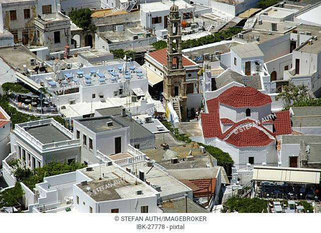 View on the roofs of Lindos with Agia Panagia church island of Rhodes Greece