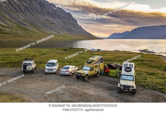 Cars parked, at Dynjandisvogur bay, Dynjandi Area, West Fjords, Iceland