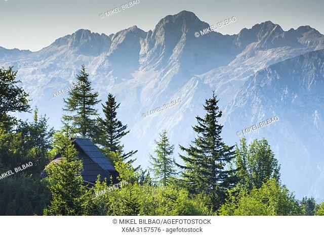 Mountains in summer and hut. Velika Planina sky area. Upper Carniola region. Slovenia, Europe