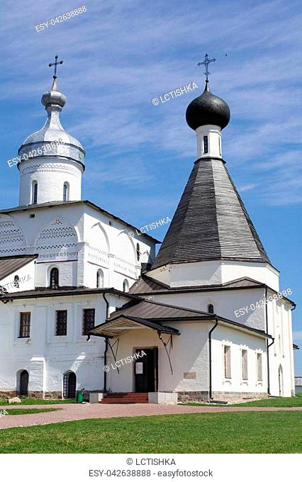Ferapontovo, July 2018. Monastery. very beautiful views around, blue sky and green meadows, bathing churches