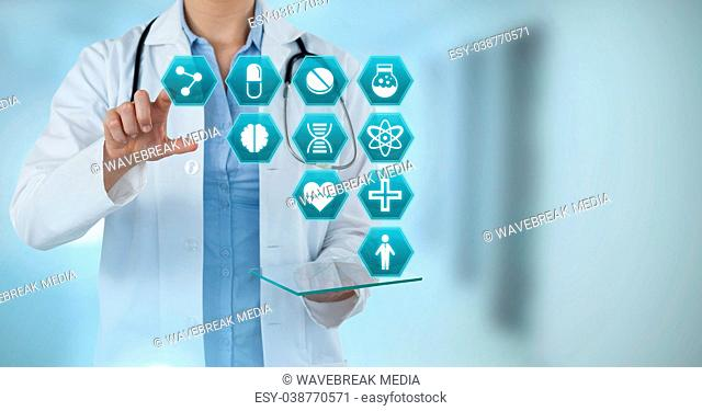 Doctor interacting with medical hexagon interface
