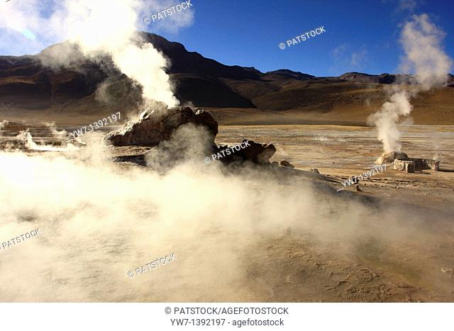 El Tatio Geyser Field locally known as Los Géiseres del Tatio is located within the Andes Mountains of northern Chile at 4,200 meters above mean sea level